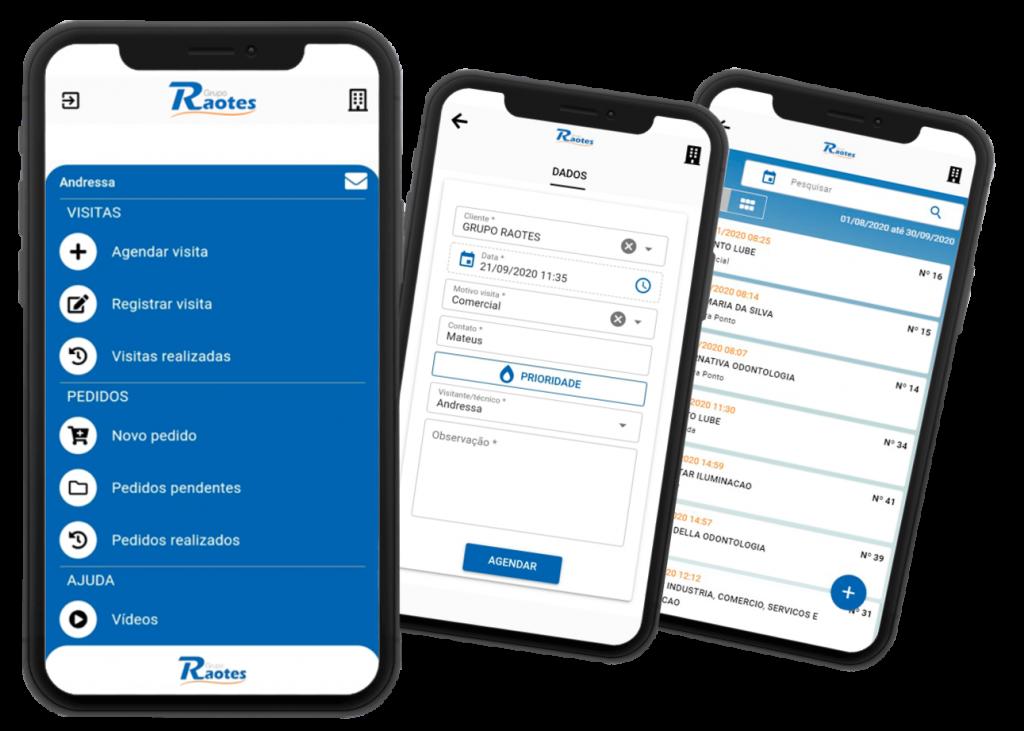 app controle de visitas e vendas grupo raotes
